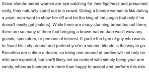 """""""Brunettes are a dime a dozen,"""" says the blonde with a 'superiority complex'."""