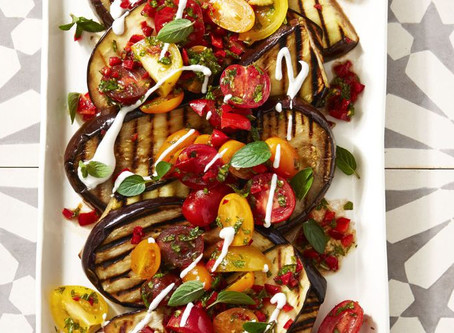 Cayenne Grilled Eggplant with Fresh Tomato Salad