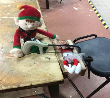 The elves visit the Technology department