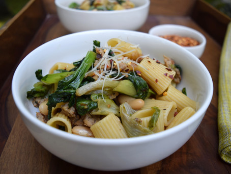 Pasta with Escarole, Sausage, and Cannellini Beans