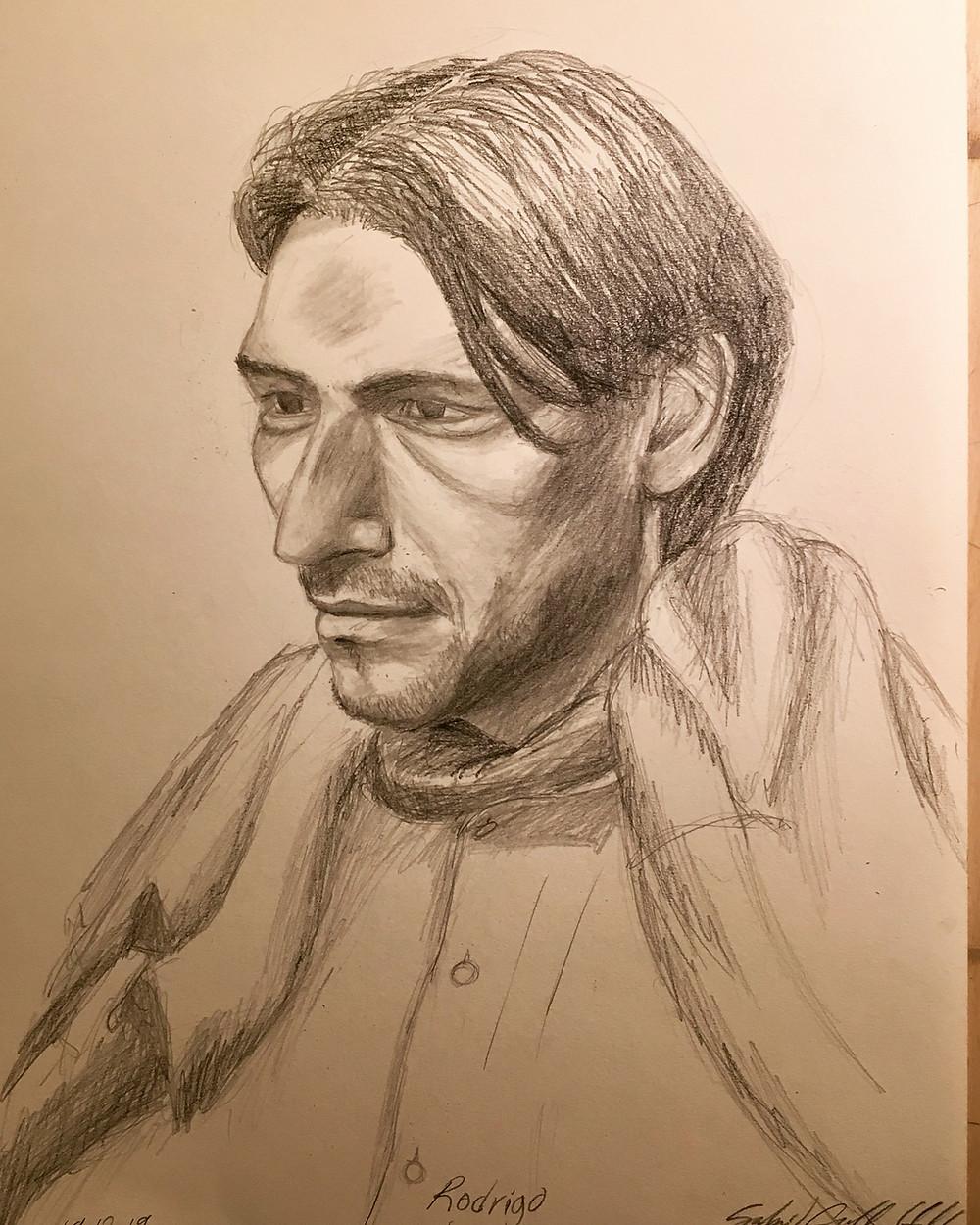 portrait of Rodrigo. Pencil, 42 x 30 cm.