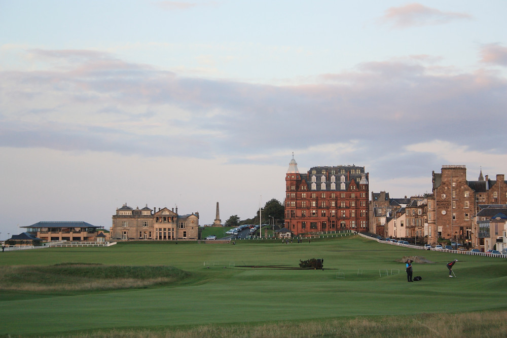 St Andrews Old Course at sunset in Scotland