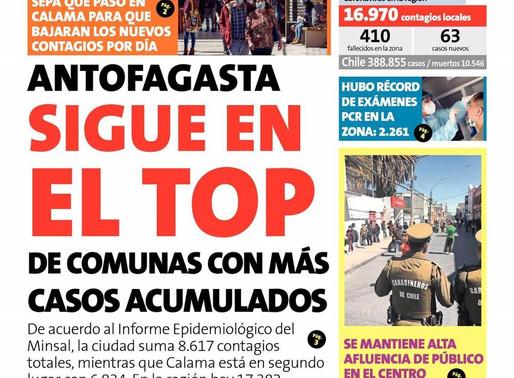 TITULARES DE LOS PRINCIPALES DIARIOS DE LA REGIÓN DE ANTOFAGASTA | MIÉRCOLES 19