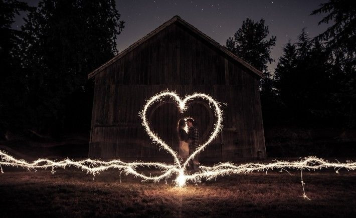 Wedding Photoshoot Props: Sparkler drawn into a heart with the couple in the middle