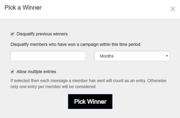 Exclude recent winners from your Campaign