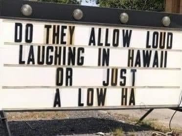 Do they allow loud laughing in Hawaii or just a low ha? Sign