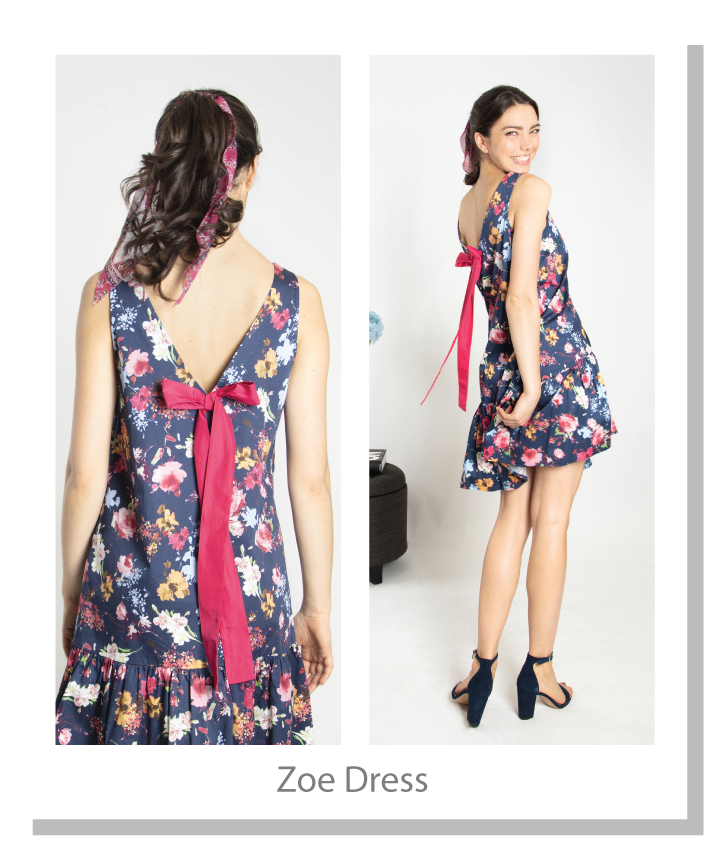 Floral printed light weight poplin dress