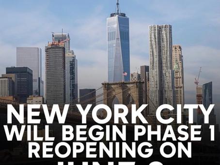 ニューヨーク市もやっと第一段階のreopenが6月8日に出来そうです〜