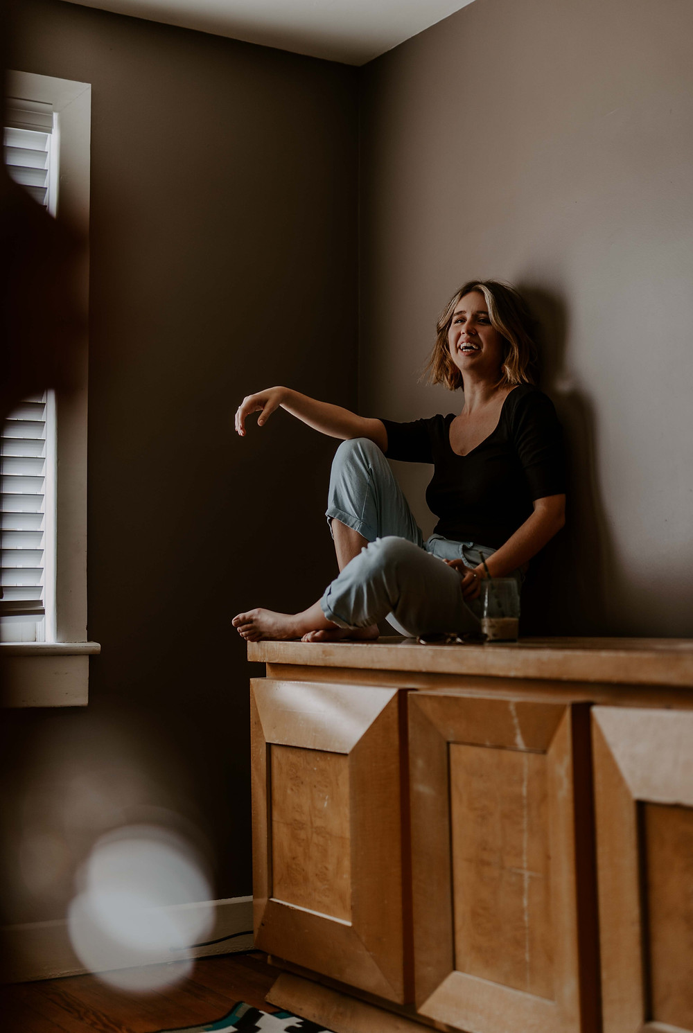 Woman in her living room during covid 19