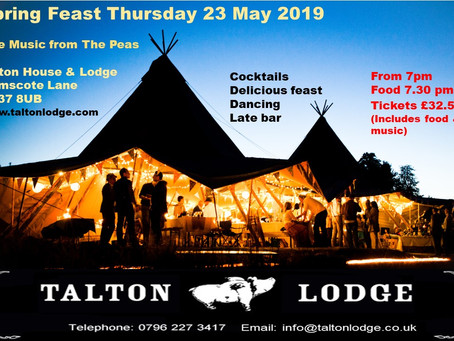 Restaurants are boring.   Feast & Dance to Live Music at Talton lodge Giant fESTIVAL tIPIS mAY 23rd