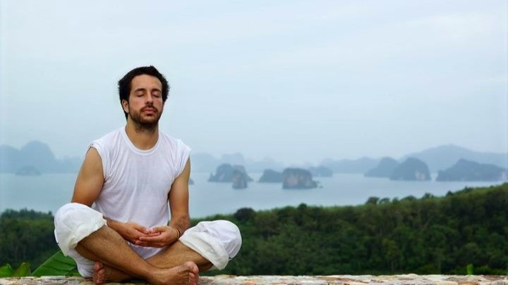 Miguel Cano meditating at a meditation retreat in an island at the south of Thailand