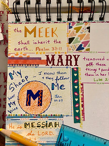 """""""M"""" page in #biblequiltjournal"""