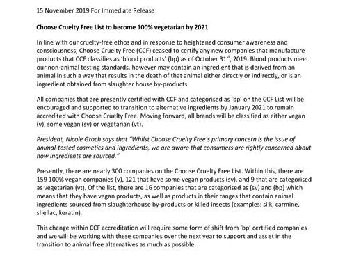 Press Release: Animal Ingredients