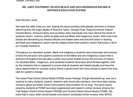 TYC Joint Statement on Anti-Black and Anti-Indigenous Racism in Ontario Schools