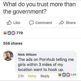 What do you trust more than the government. Ads on Pornhub telling me girls within 3 miles