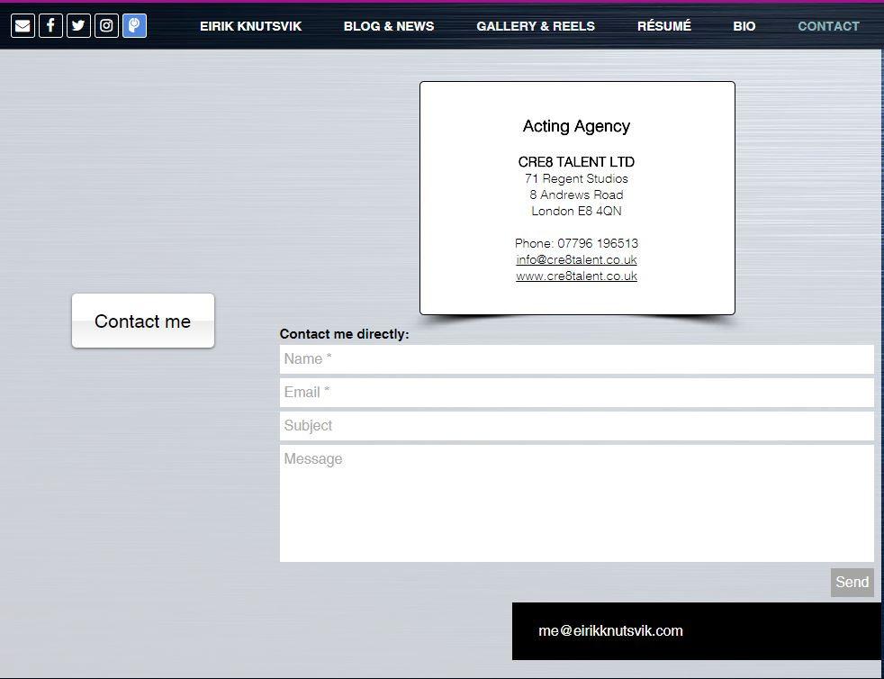 Contact section of Eirik Knutsvik's website.