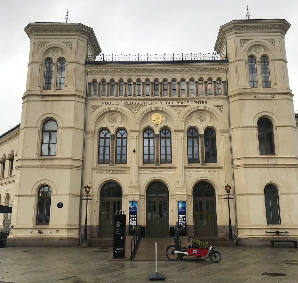 Nobel Peace Centre from the outside on a cloudy day in Oslo, Norway