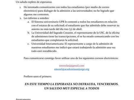 Depto. de Consejería informa: Carta a padres y estudiantes de 12mo
