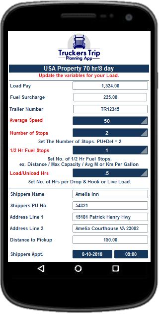 Trucker Trip Planning Worksheet