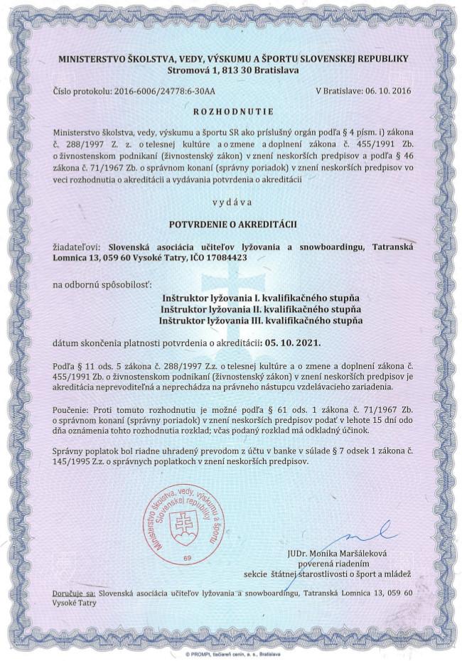 Akreditácia SAPUL Lyže