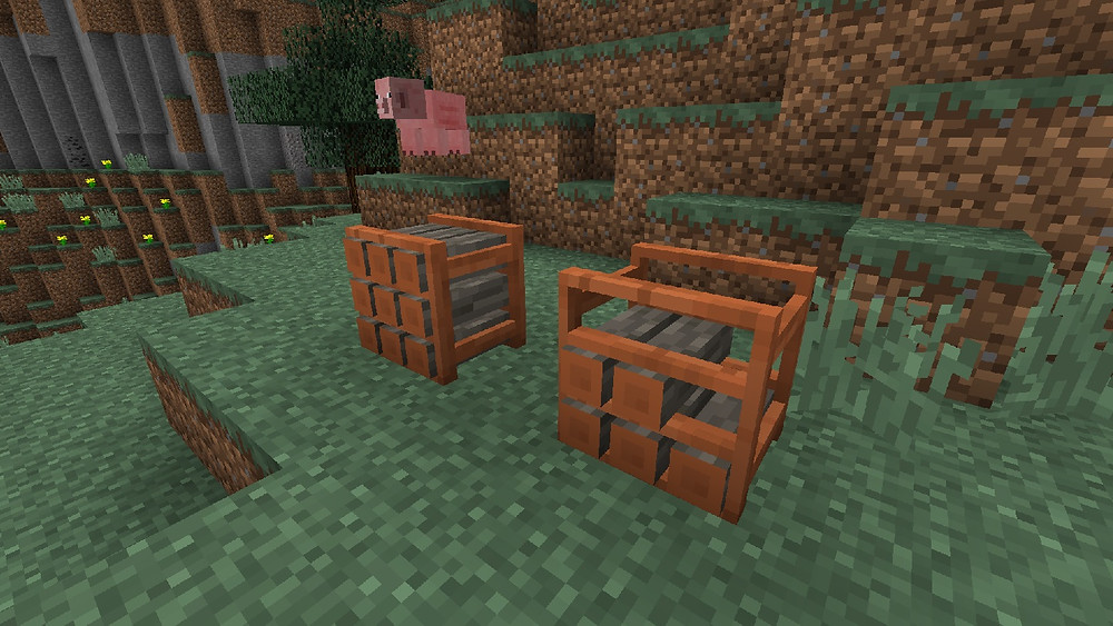 Minecraft mod called More Blox showing Acacia Woodpile