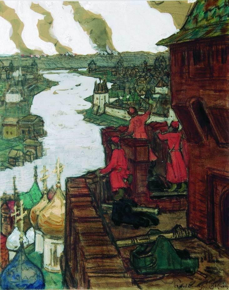 Татары идут. Конец XIV века (Идут! Набег татар на Москву) 1909 год