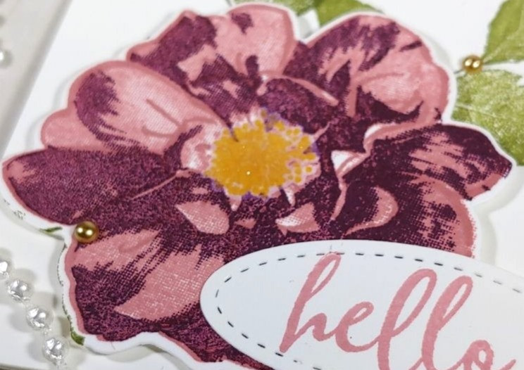 Close up of the stamped rose image from the card