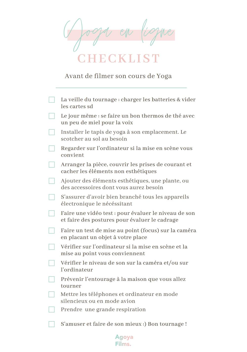 Liste Aide-Mémoire des éléments à vérifier  juste avant de tourner un cours de oyoga en ligne