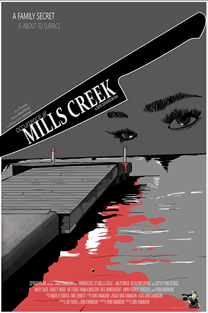 A graphic art poster depicting a dock in bloody water, a woman's eyes watching over it as the outline of a knife is across the poster with the title written inside.