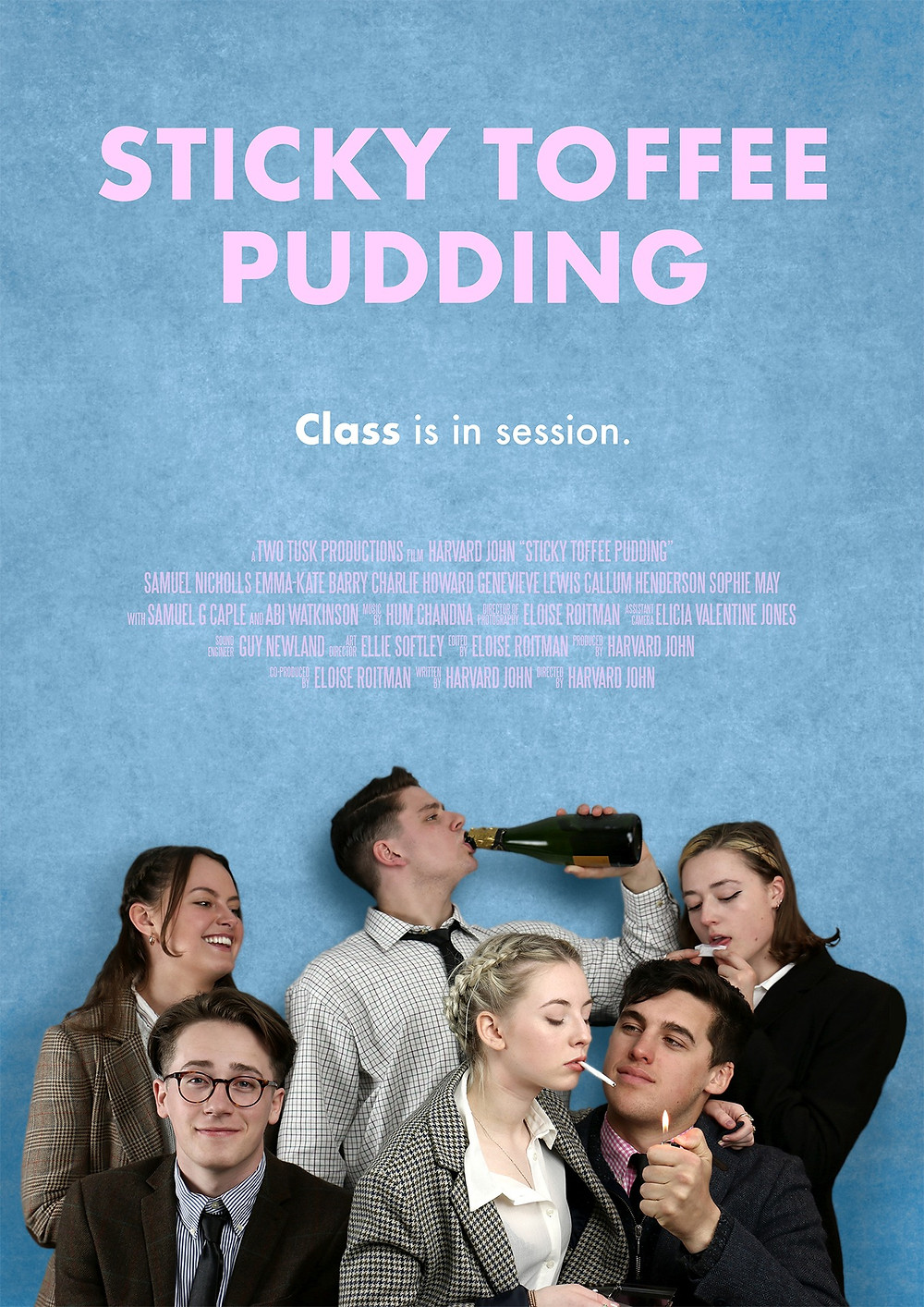 Sticky Toffee Pudding film poster showing the main cast huddled around drinking and smoking