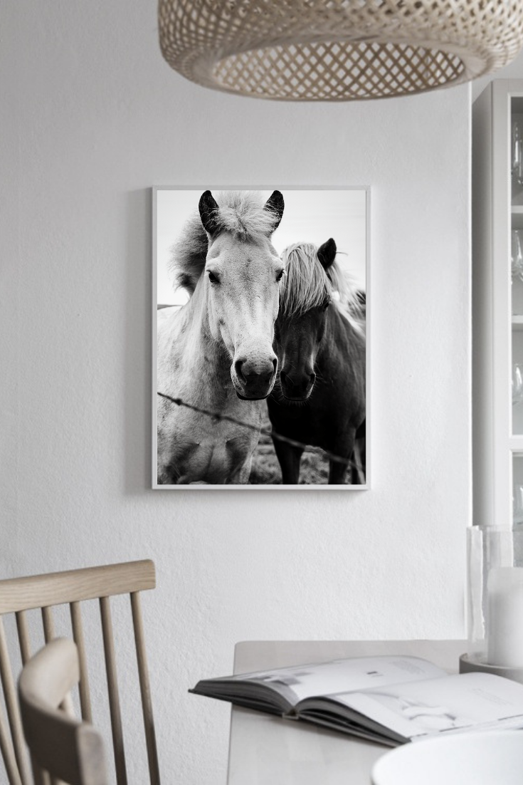 Cowboy Aesthetic Interiors dining room with horse poster
