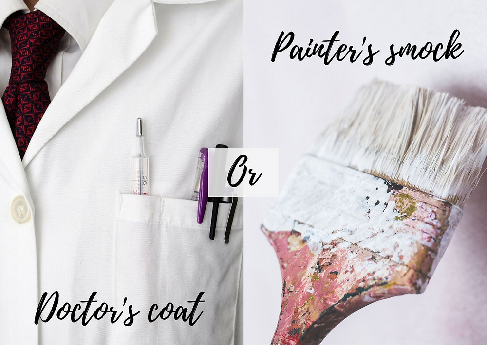 one side has a doctor's coat and the other has a painter's paintbrush