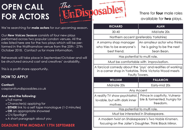 Casting Calls   Opportunities   undisposables