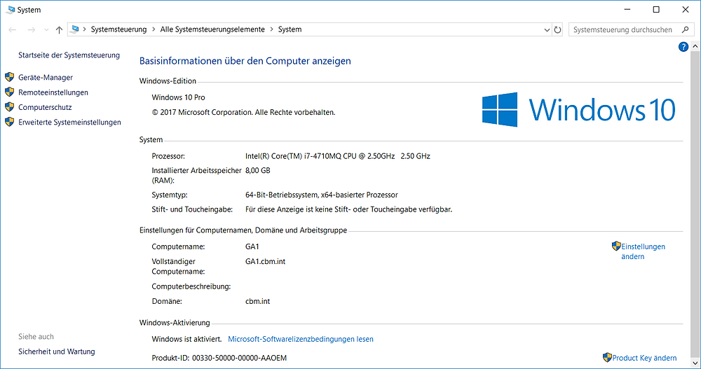 Windows 10 Systeminformationen