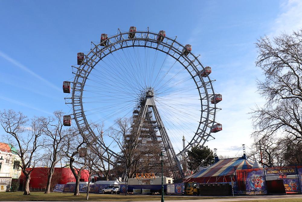 Giant Ferris wheel Wiener Riesenrad in Prater park Vienna