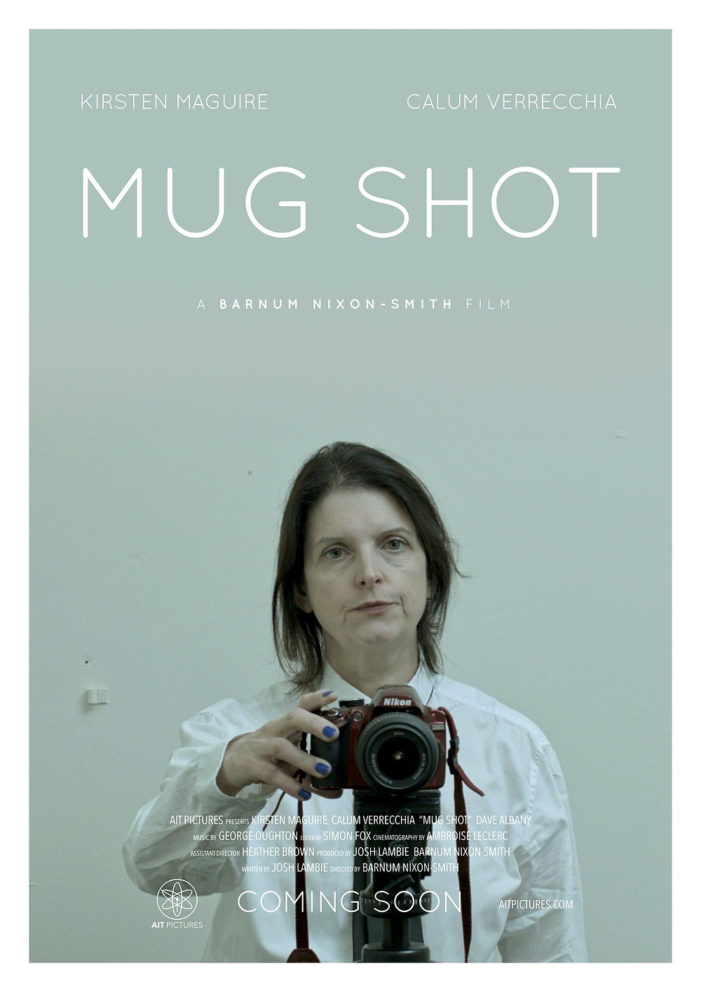 Mug Shot poster. Showing lead actress Kirsten Maguire with a camera.