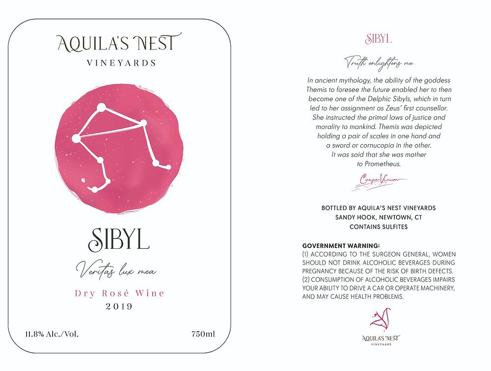 Aquila's Nest Vineyards Sibyl Dry Rose Wine Label