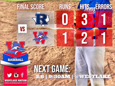 Westlake Baseball Game 2, 1-0