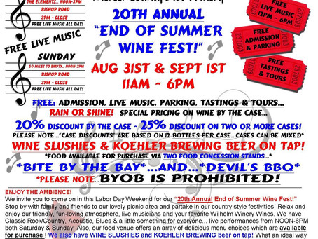 """20th ANNUAL """"END OF SUMMER WINE FEST""""-Aug 31st & Sept 1st"""