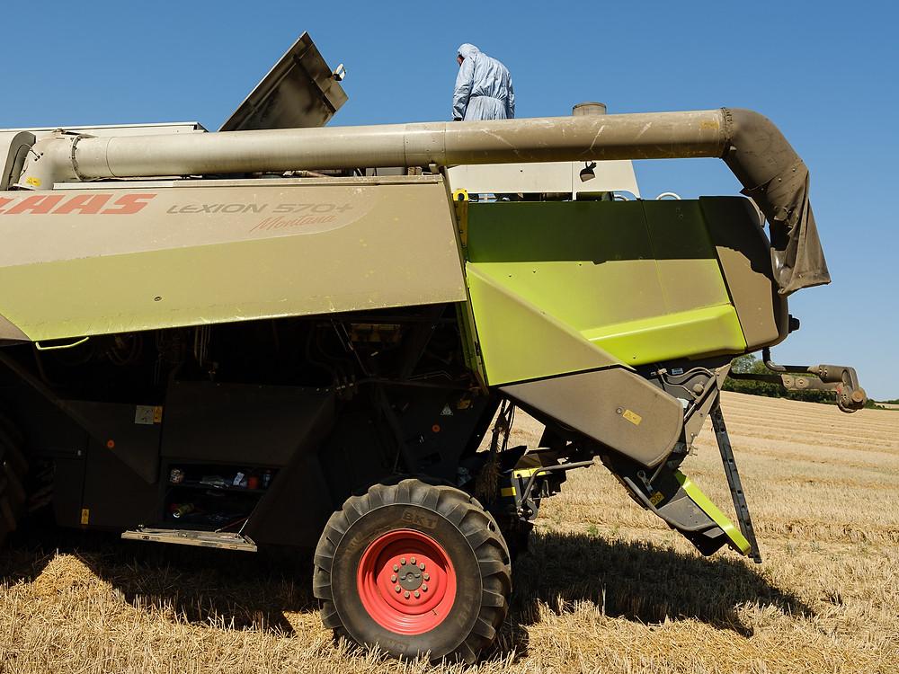 combine-harvester broken down