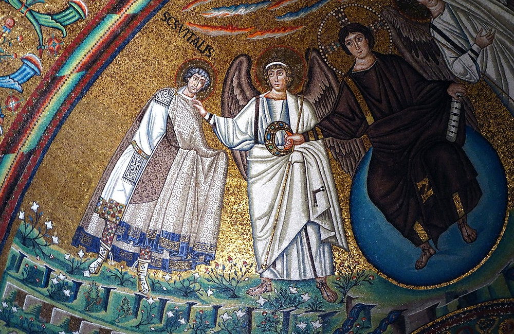 Jesus and two angels in the apse of San Vitale