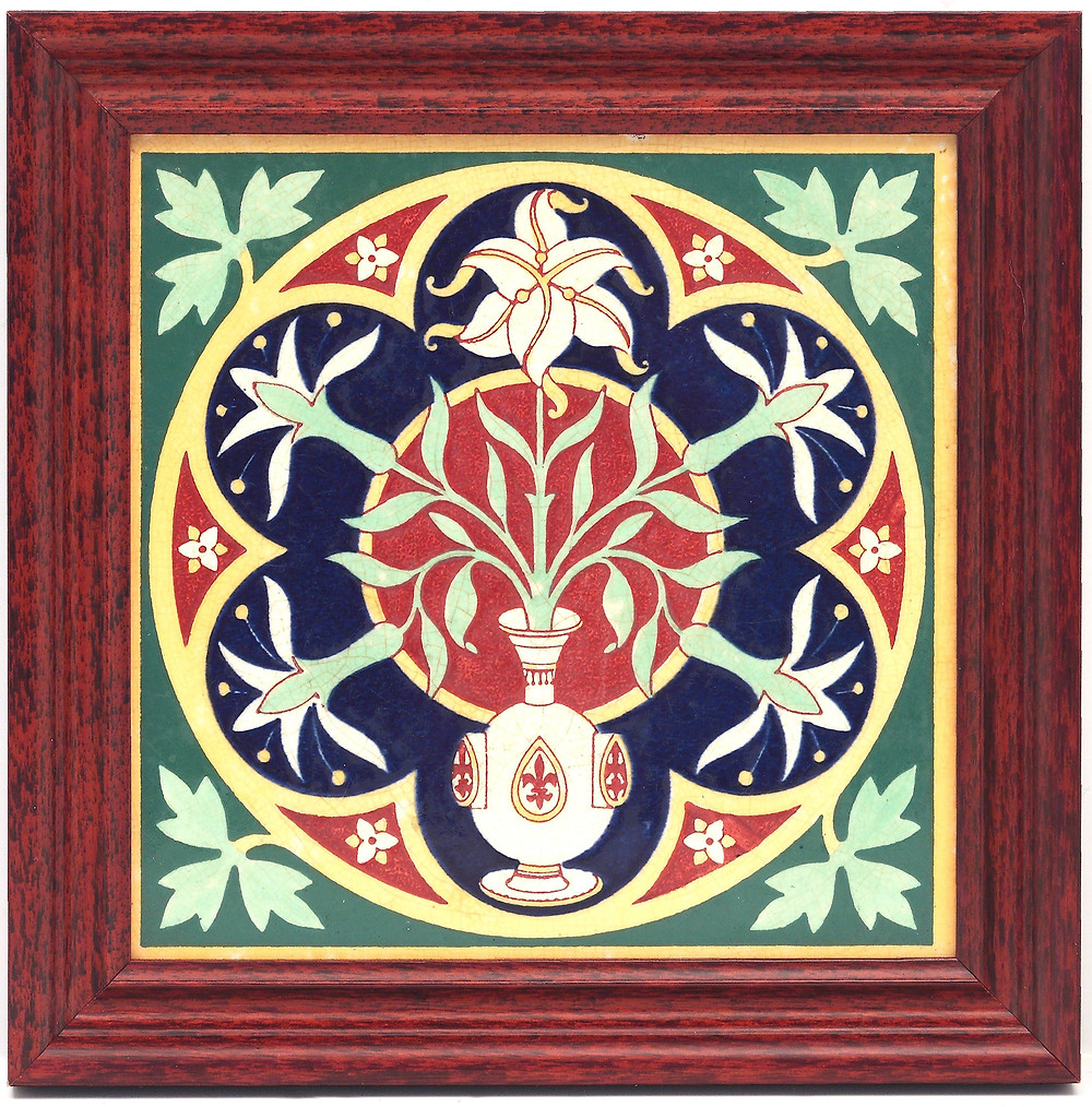 Augustus Welby Northmore Pugin (1812–1852). Floriated ornament: A series of thirty-one designs. London: Henry G. Bohn, MDCCCXLIX. Witha Minton transfer-printed tile, the design based on the title vignette of Pugin's Floriated ornament.