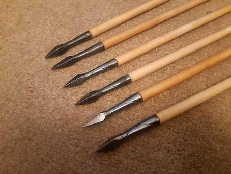 "Six 3/8"" birch arrows"