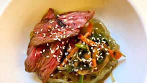 Marinated Hanger Steak with Japchae (Korean Glass Noodles)