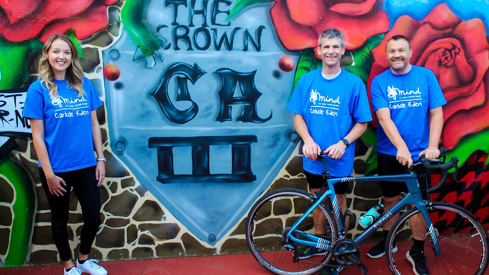 Charity cyclists Roger Cowton and Nick Woof, with Tessa Tilbe from Carlisle Eden Mind, at The Crown in Stanwix which is the base for the 24-hour bike ride. Photo: Danielle Irving