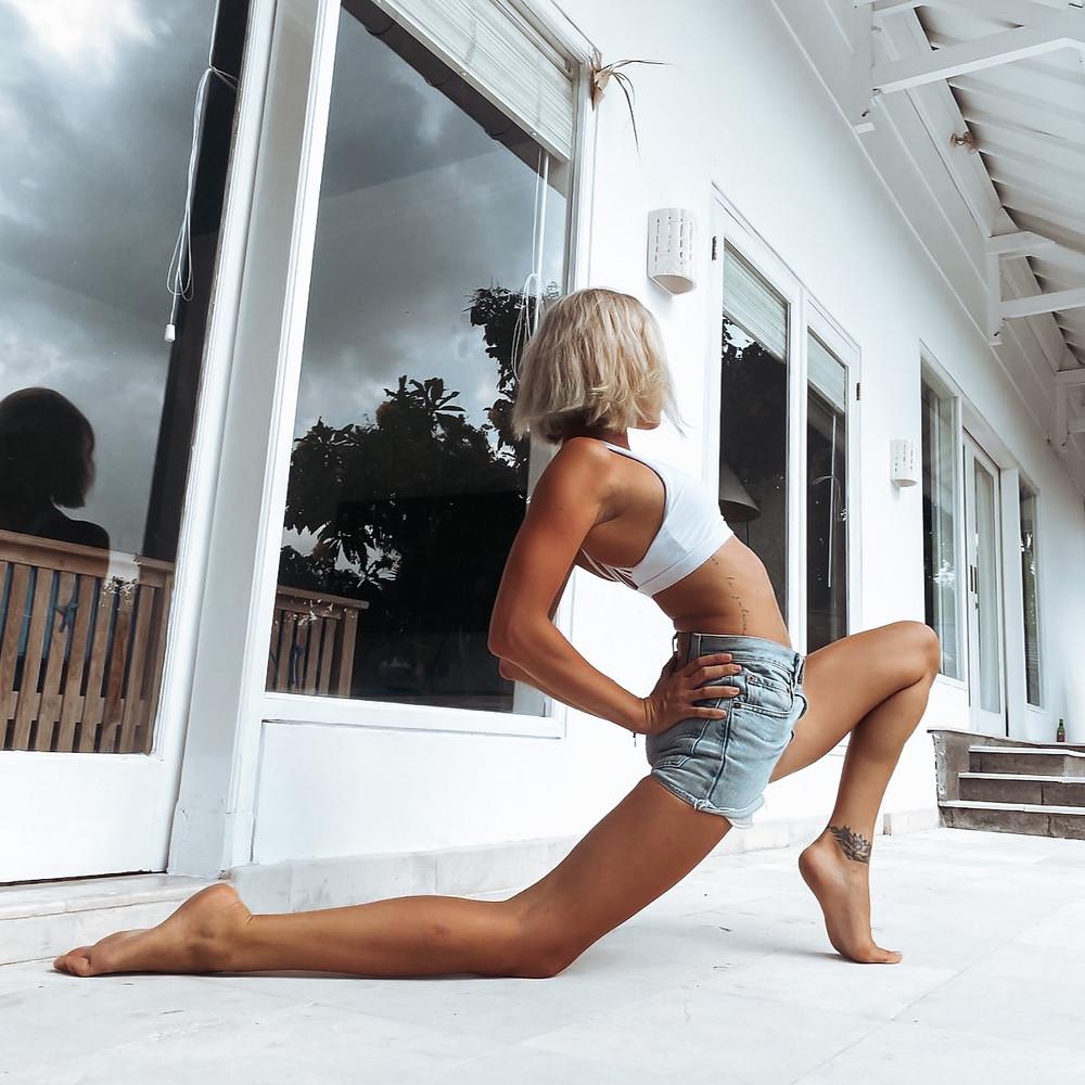 Zhana stretching in Bali