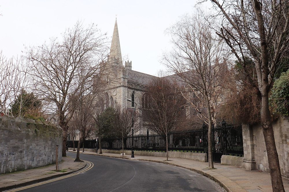 View of St Patrick's Cathedral from the street in Dublin Ireland