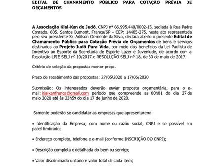 PROJETO JUDÔ PARA VIDA  EDITAL DE CHAMAMENTO PÚBLICO PARA COTAÇÃO PRÉVIA DE ORÇAMENTOS
