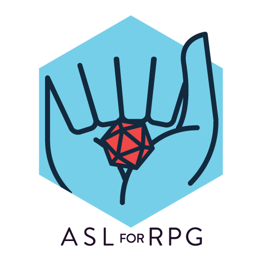 "ASL for RPG logo - blue hexagonal background behind the outline of a hand signing letter ""A"" and holding a red d20 in the palm"