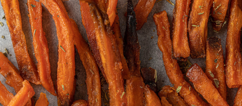Baked sweet potato chips or fries